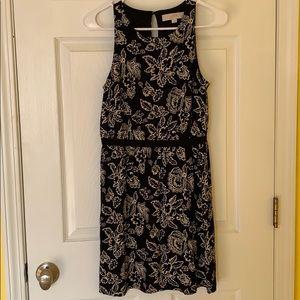 LOFT black floral print dress size SP